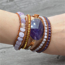Chakra Bracelet Bohemian Women Handwoven Purple Natural Stone Lava Beads Multilayer Leather Wrap Bracelets