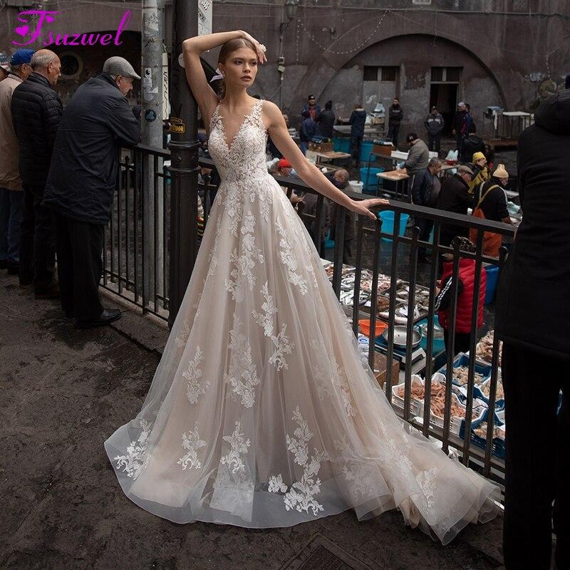 Fsuzwel Vestido De Noiva Appliques Court Train A-Line Wedding Dresses 2020 Sexy V-Neck Backless Princess Wedding Gown Plus Size