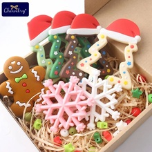 1pc Silicone Snowflak Teether Christmas Tree Star Pendant Deer Gifts For Baby Elk Gingerbread Mans
