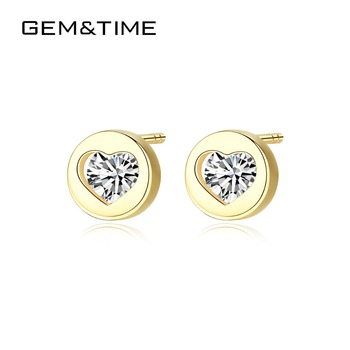 Gem&Time Round Heart Solid 14K Gold Stud Earrings for Women Wedding Engagement Fine Jewelry Yellow Gold Pendientes AU585 E14118