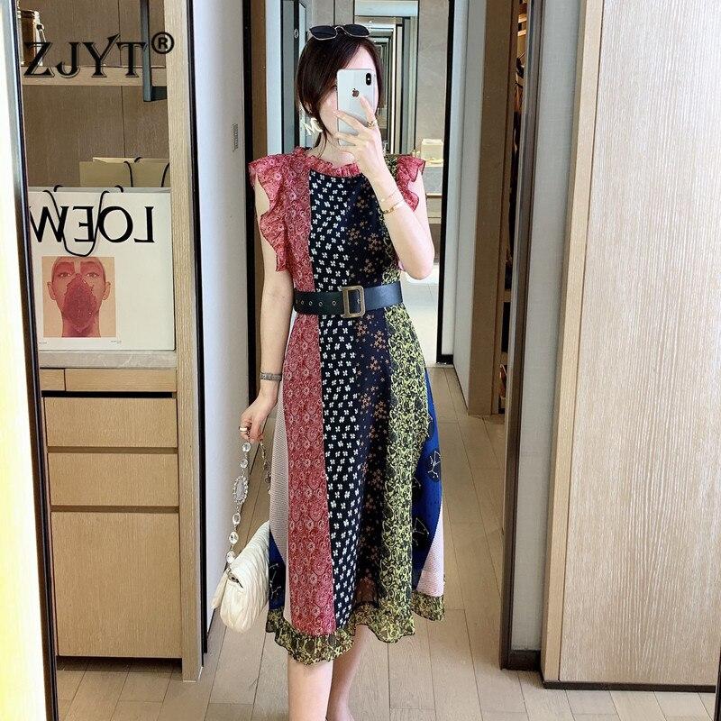 Robe de piste vêtements d'été femmes 2020 nouveaux créateurs de mode manches papillon couleur bloc imprimer robe Vintage avec ceinture