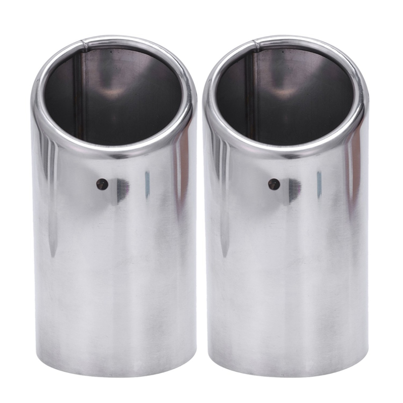 2x Exhaust Headers Exhaust Tips Muffler Pipe Inox For Audi A4 B8 A4L Q5