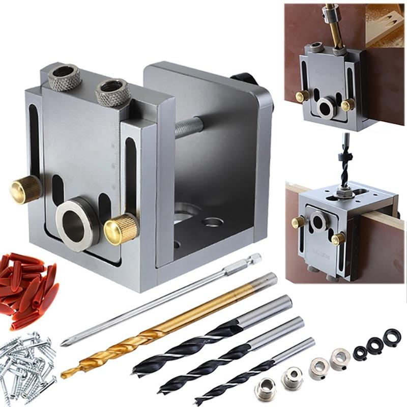 HHO-Kit de gabarit de perforateur de poche Mini Kit de gabarit de trou de poche pour le travail du bois