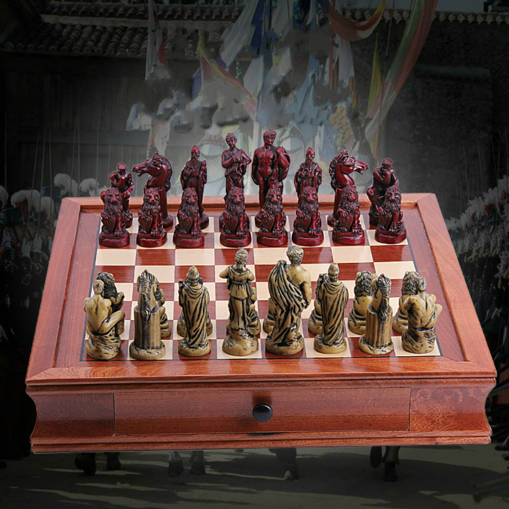 Ancient Rome Chess Set High Quality Collection Decoration Chessman With Mahogany Wooden Board