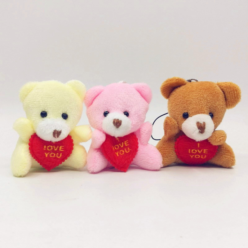 6CM I Love You Teddy Bear Stuffed Plush Toy Holding LOVE Heart Soft Gift For Valentine Day Birthday Girls' Brinquedos Keychain