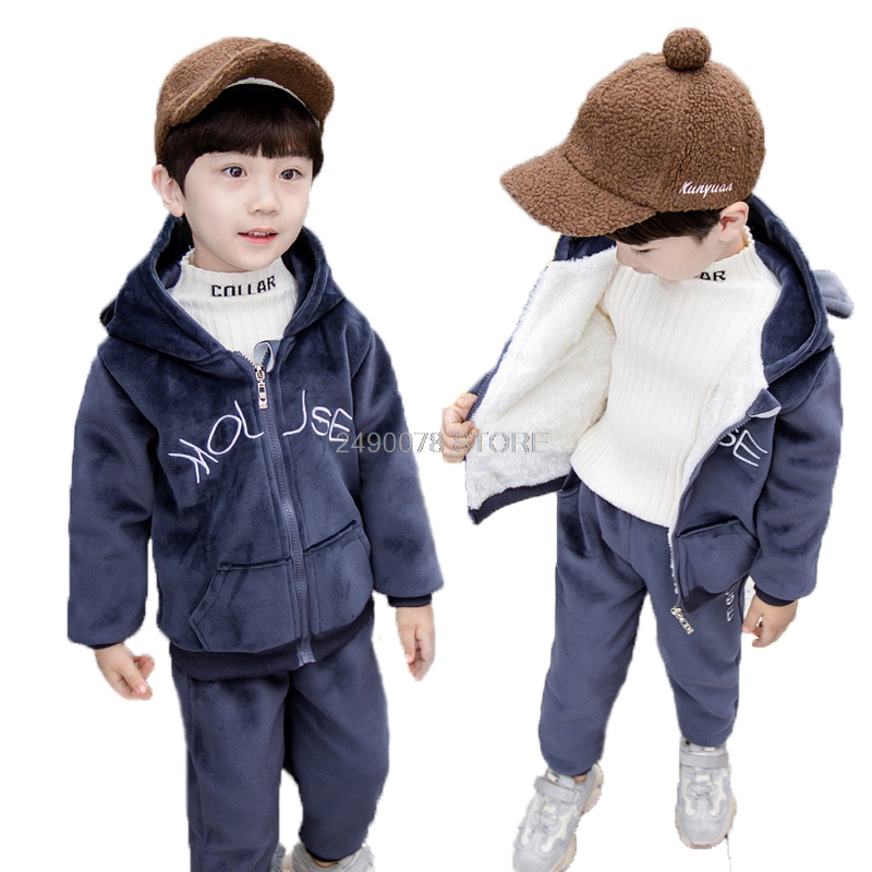 Newborn Baby Boys Girls Winter Warm Plus velvet Hoody Jacket +Pants 2Pcs Clothing Set Kids Children Sports Outdoor Tracksuit 2