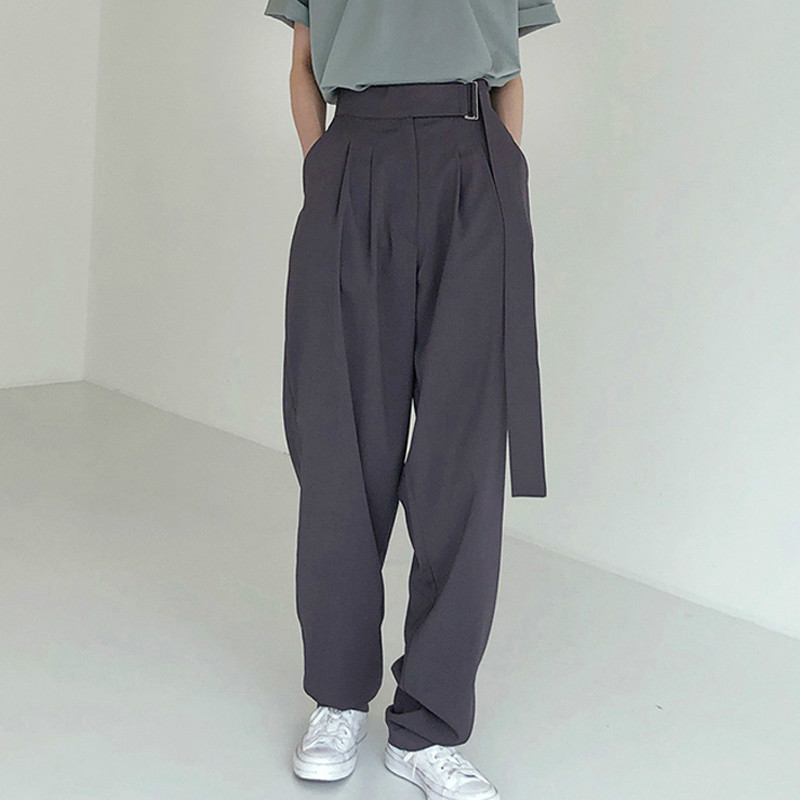 Fashion Belted Women Long Pants High Waist Causal Loose Trouser For Women Pants Elegant Wide Leg Capris Female 2020