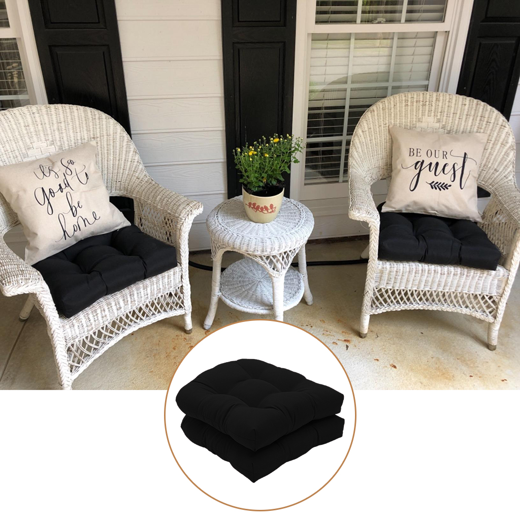 Set Of 2 Tufted Chair Pad Seat Cushions, Round Back Outdoor Chair Pads