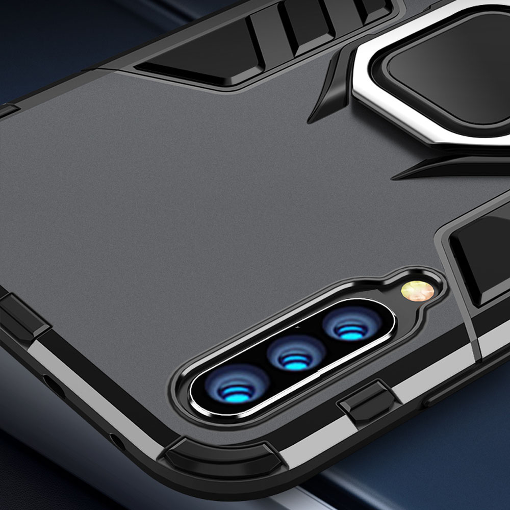 For Xiaomi Mi A3 Case Armor PC Cover Finger Ring Holder Phone Case For Mi A For Xiaomi Mi A3 Case Armor PC Cover Finger Ring Holder Phone Case For Mi A 3/Mi CC9 CC 9e Cover Shockproof Bumper TPU Rim Shell