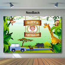 NeoBack Jungle Safari Birthday Backdrop Woodland  Cartoon Animals Party Banner Photography Background