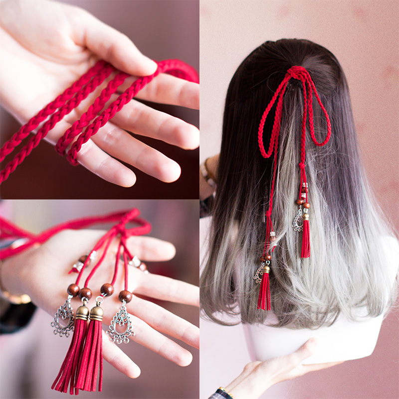 Vintage RED Ribbon Antique Style Hair Band Palace Taeniasis Tassels Braided Hair Band Chinese Clothing Accessories Headdress