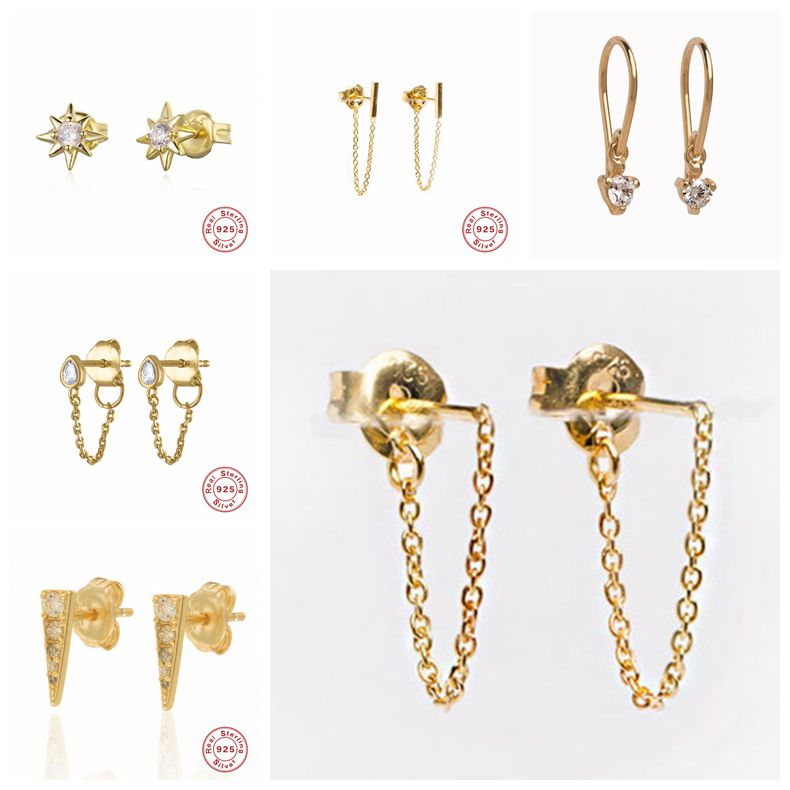 Stud Earrings 925 Sterling Silver Chain Tassel Stud Earrings For Women Wedding Gifts Sterling-silver-Fine Jewelry A30