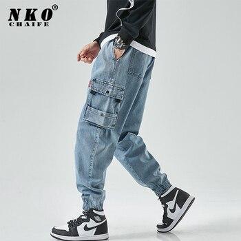 CHAIFENKO New Hip Hop Cargo Jeans Pants Men Fashion Casual Harem Joggers Trousers Men Streetwear Denim Jeans Men Plus Size M-8XL 1