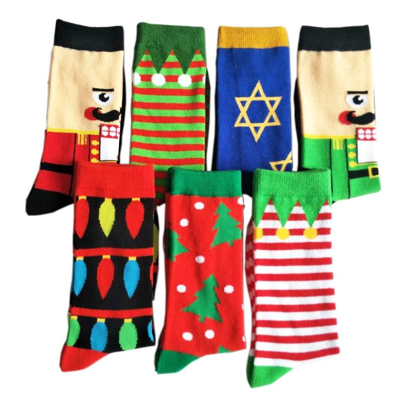 Mens Happy Cartoon Combed Cotton Socks Hot Sale Color Funny Socks Crew Santa Claus Christmas Gift Skateboard Hip-hop Sock