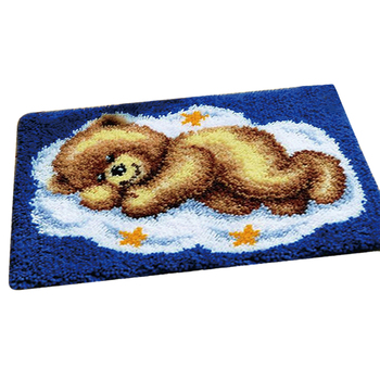 50 X 40cm DIY Latch Hook Kit Carpet Cushion Crocheting Rug Sewing Craft For Family Gifts #8211 Sleeping Bear Brown Bear White Bear tanie i dobre opinie Nowoczesne Ręcznie Drukowane na Płótnie PAPER BAG Bawełna Zwierząt serii 2988727