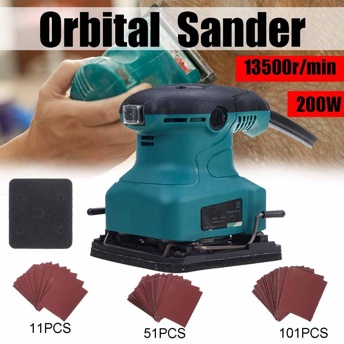200W 220V Electric Sander Machine Wood Orbital Sanding Polisher Furniture Metal Polishing Grinding Machine 101Pcs Sandpapers
