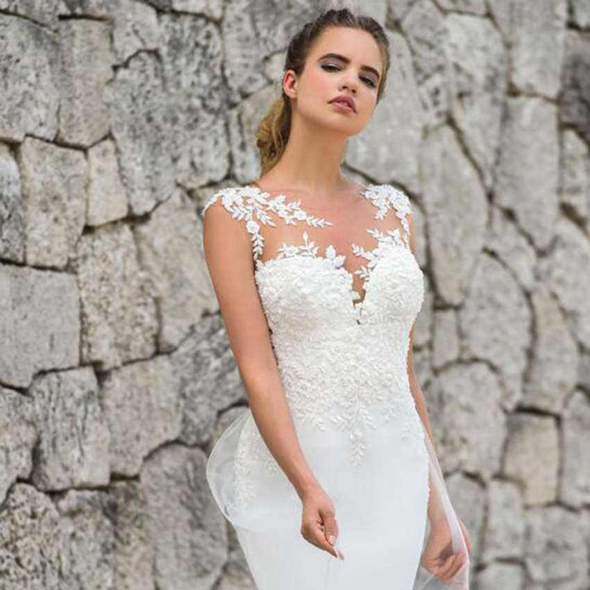 Lace Mermaid Wedding Dress With Detachable Train 2019 Custom Made Fish Tulle Bridal Dresses Robe De Mariee Bride Dresses Turkey in Wedding Dresses from Weddings Events
