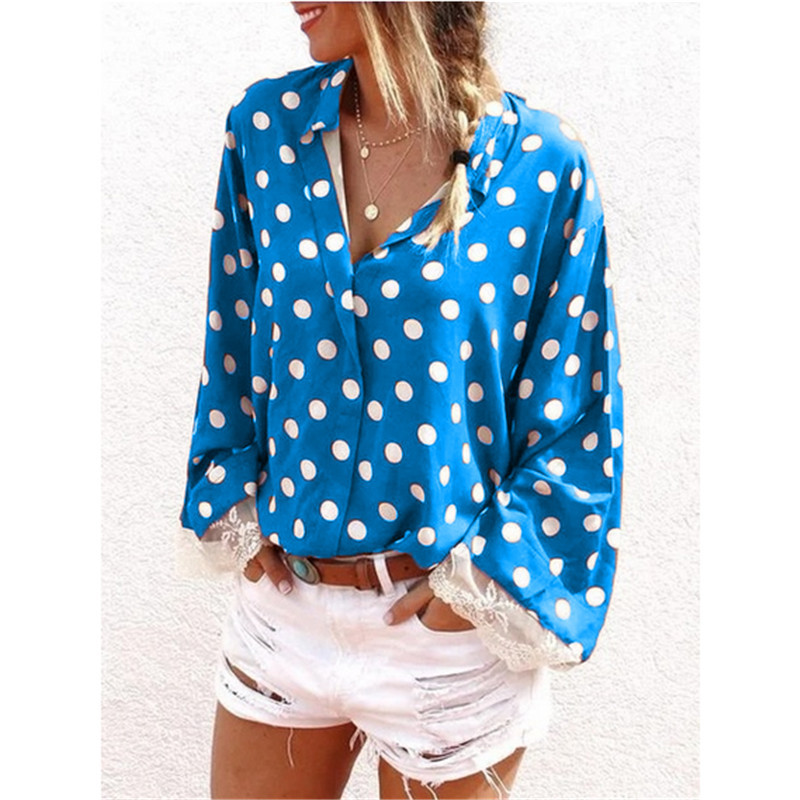 New Women's Fashion Trending Clothes Casual Long Sleeved Polka Dot Printing V Neck Button Shirt & Blouses Loose Plus Size Tops