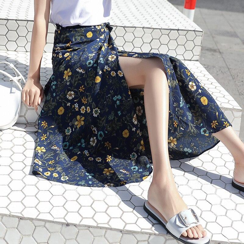 Женская Асимметричная длинная юбка, темно-синяя винтажная юбка макси с цветочным принтом, запахом и Боковым Разрезом, юбки с высокой талией ...