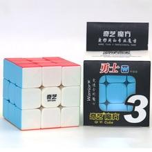 Qiyi المحارب ث 3x3x3 سرعة مكعب Stickerless المهنية المكعب السحري الألغاز الملونة ألعاب تعليمية للأطفال مكعب أحمر