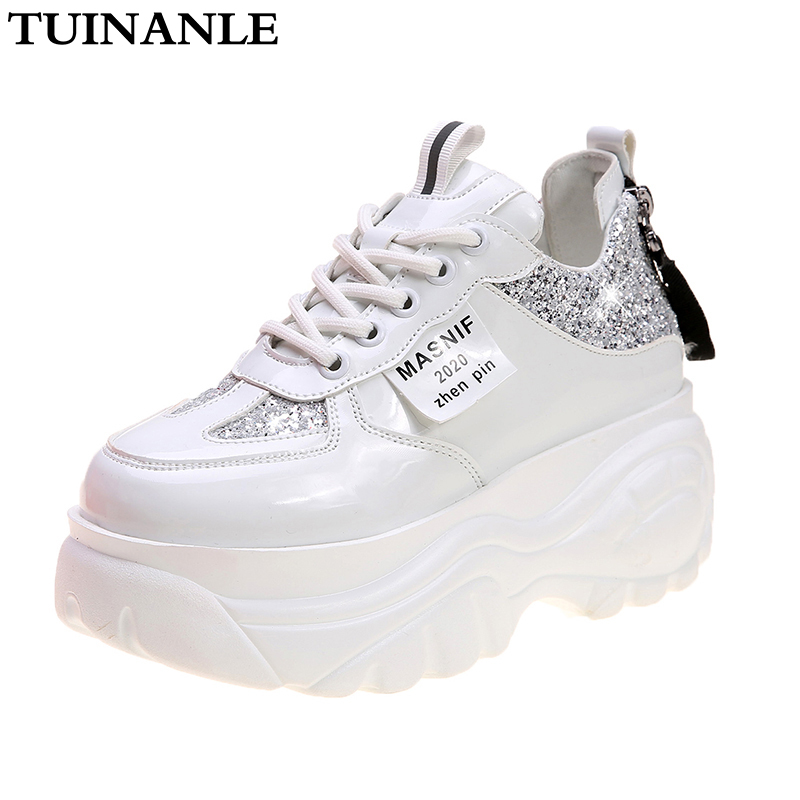 TUINANLE Chunky Sneakers Wedges Shoes For Women Bling White Womens Shoes Spring/Autumn 2020 Platform Sneakers Sapatos De Mujer