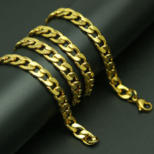 Gold Link Curb Chain Men's Titanium Stainlee Steel Figaro Flat O Link Chain,3-9MM Wide Big Necklaces women Wholesale(China)