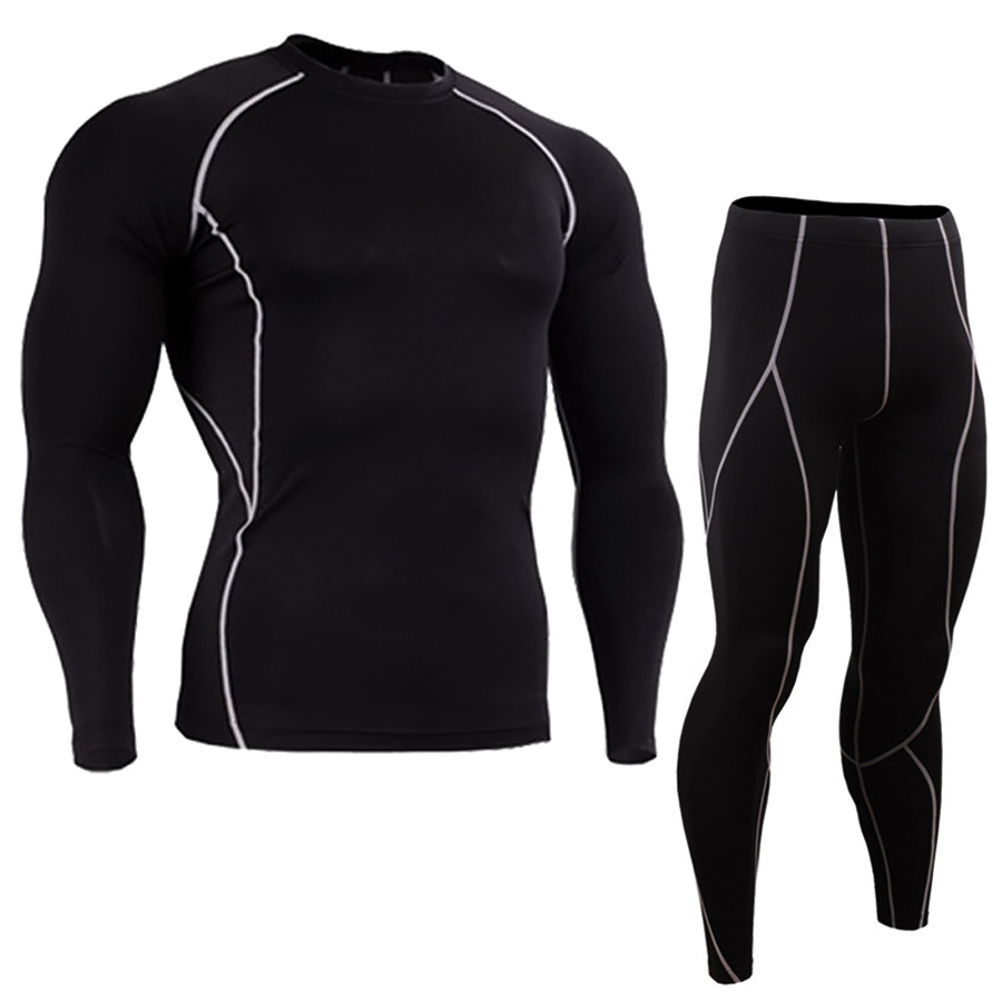 Fashion 2Pcs/Set Men's Tracksuit Gym Fitness Compression Sports Suit Clothes Running Jogging Sport Wear Exercise Workout Tights