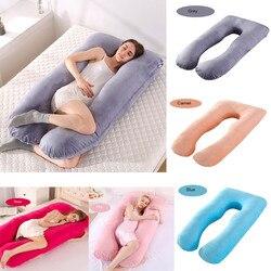 Forma de U Gravidez Travesseiro de Corpo Inteiro de Algodão Fronha de Travesseiros De Maternidade para A Gravidez As Mulheres Suporte Dormir Cama Dorminhoco Lateral