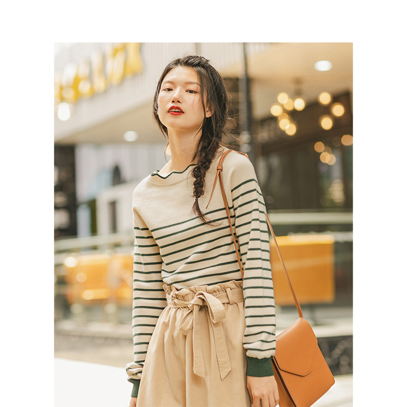 Image 3 - INMAN Spring Autumn Lace O neck Minimalism All Matched Slim Literary Striped Women PulloverPullovers   -