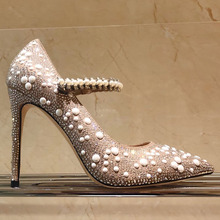 Elegant Pumps Rhinestone Pearl Straps High Heels Woman Spring Full Pearl Driled Woman Thin Heels Pointed Toe Wedding Shoes cheap Dipsloot Basic Microfiber Super High (8cm-up) Fits true to size take your normal size Fashion Genuine Leather Pigskin Spring Autumn