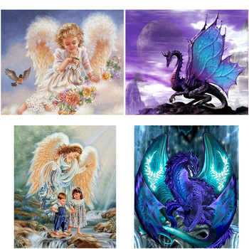 DIY 5D Diamond Painting Angel Picture of Rhinestone Diamond Embroidery Cross Stitch Mosaic Landscape Art Wall Sticker Home Decor wall art 5d diy diamond embroidery rhino tail diamond painting cross stitch full diamond mosaic animals home decor craft picture