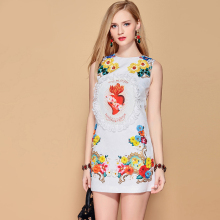 Baogarret 2019 Fashion Runway Summer Dress Womens Sleeveless Beautiful Floral Appliques Beading White Elegant Short