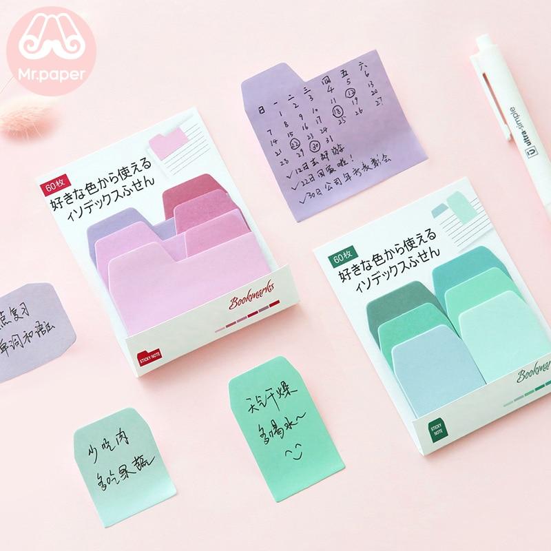 Mr Paper 60pcs/lot Gradual Change Colorful Small Convenient Paste Memo Pads Sticky Notes Creative Self-Stick Note Memo Pads