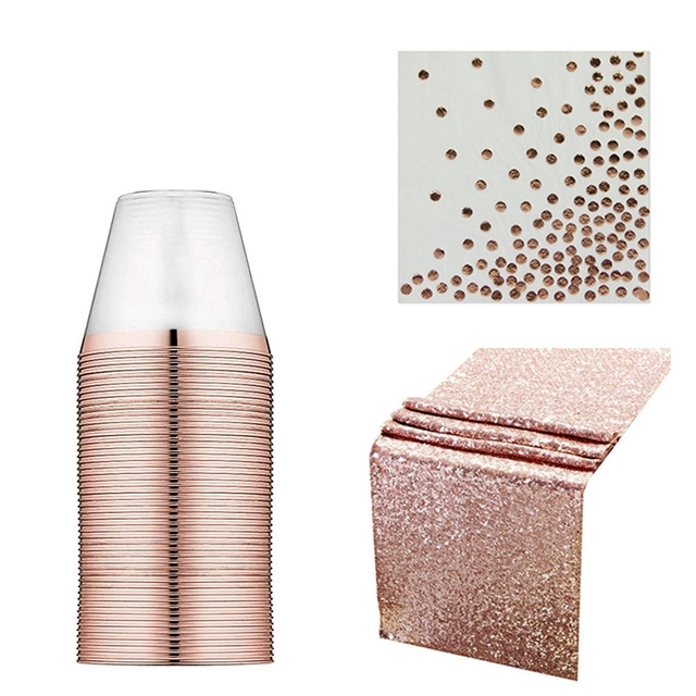 Rose Gold Plastic Cup Paper Towel Tablecloth Rain Silk Curtain Birthday Party Wedding Decorations