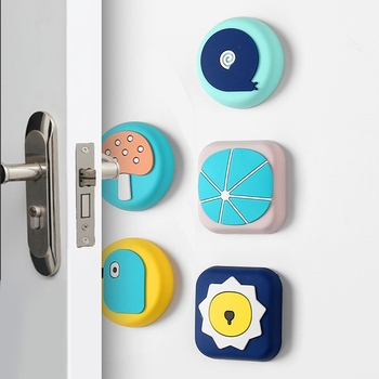 1PC Silicone Self Adhesive Cartoon Door Stopper Wall Door Handle Bumpers Buffer Guard Stoppers Silence Crash Pad image