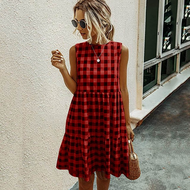 Women Summer Dresses Plaid Sleeveless Casual Sundress A Line Mini Dress Pocket O Neck Loose Beach Dresses Vestidos De Verano 2