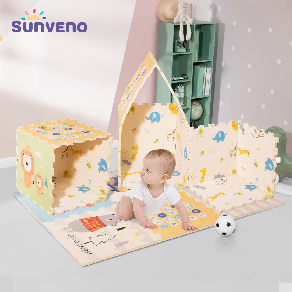 Sunveno tapis de jeu bébé XPE imperméable à l'eau en mousse souple ramper tapis Joint fendu imbriqué carreaux 55x55cm 6 pièces/ensemble