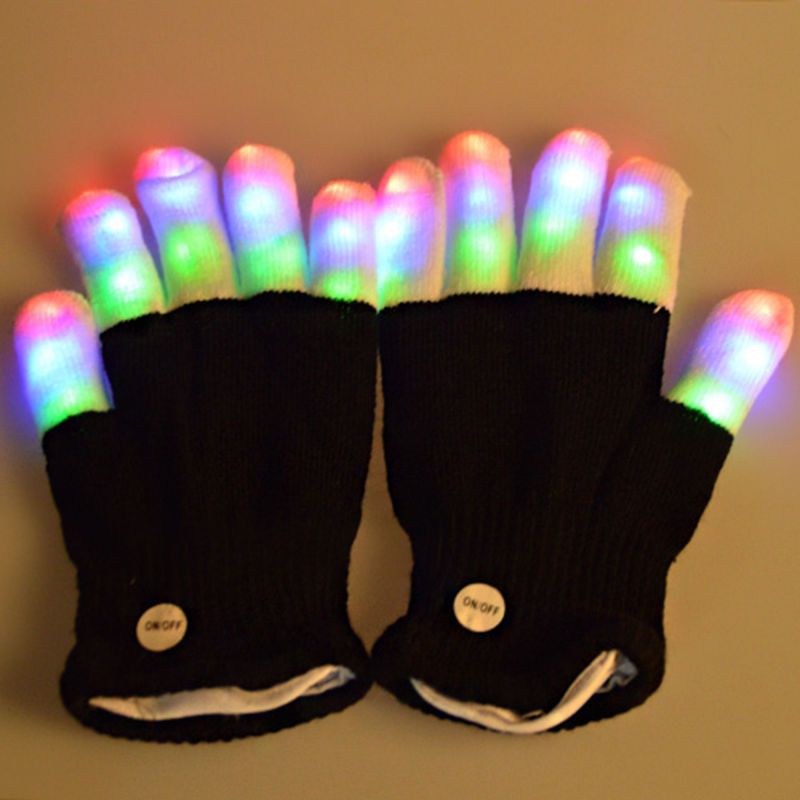 Светодиодный, светящиеся перчатки, вечерние принадлежности, светящаяся, Рейв, мигающая перчатка, светящийся светильник, кончик пальца, светильник, рождественский подарок, детские, вечерние, Декор