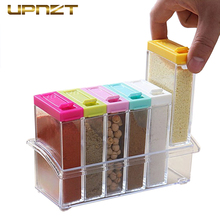 Kitchen Seasoning Bottles Boxes Jars 6Pcs/Set Plastic Spice Storage Organizer Box Salt Pepper BBQ Seasoning Bottles Kitchen Tool