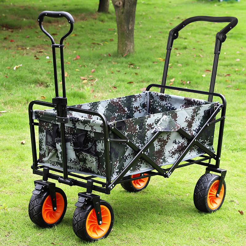 Outdoor Four-wheel Folding Portable Photography Trolley Trolley Rod Beach Fishing Shopping Grocery Cart Camping Camp Car