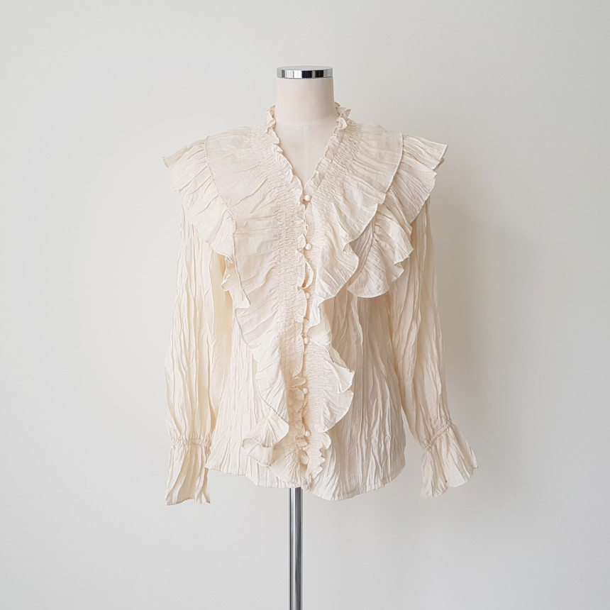 H5c58b36c71ba48b5be1e43427889b203s - Spring / Autumn V-Neck Long Sleeves Ruffles Pleated Solid Blouse