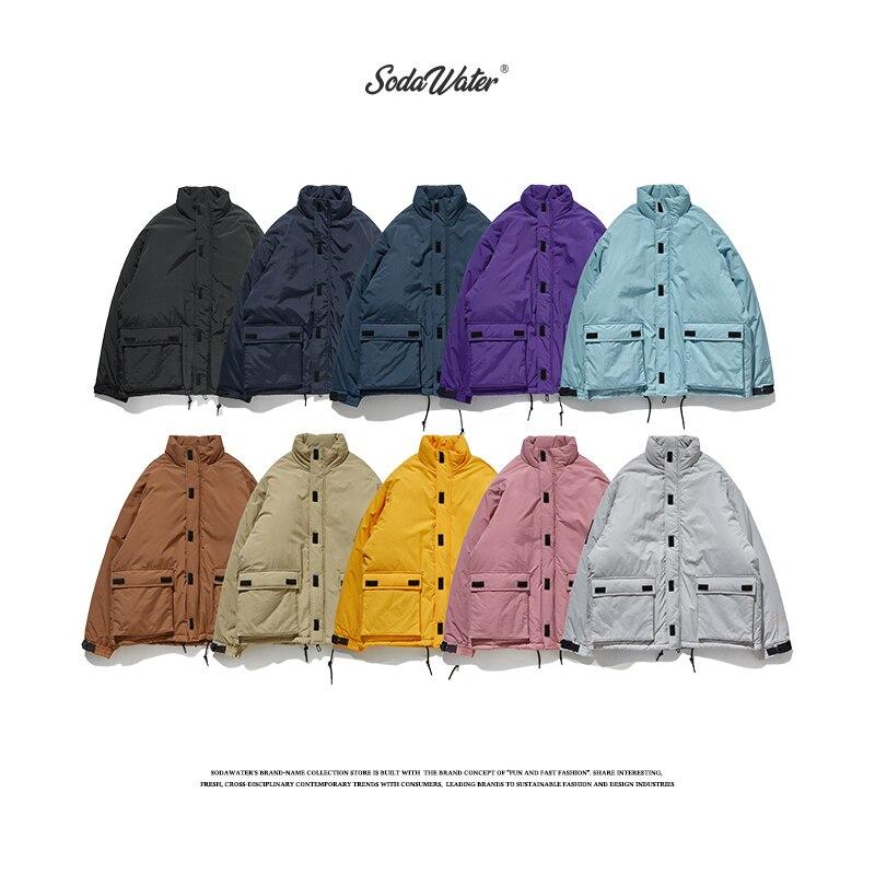 SODAWATER Men Solid Color Winter Jacket 2019 Streetwear Loose Fit Parka Coat Men Hip Hop Warm Thick Padded Coats Parka Men 8761W