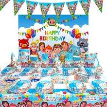 Cocomelon materiały urodzinowe dla dzieci papierowe talerze i kubki Nakpin słomiane balony dekoracje świąteczne chłopcy Baby Shower