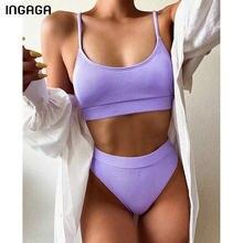 INGAGA yüksek bel Bikini mayo kadınlar Push Up mayo nervürlü kayış mayo Biquini brezilyalı Bikini 2021 yeni Beachwear