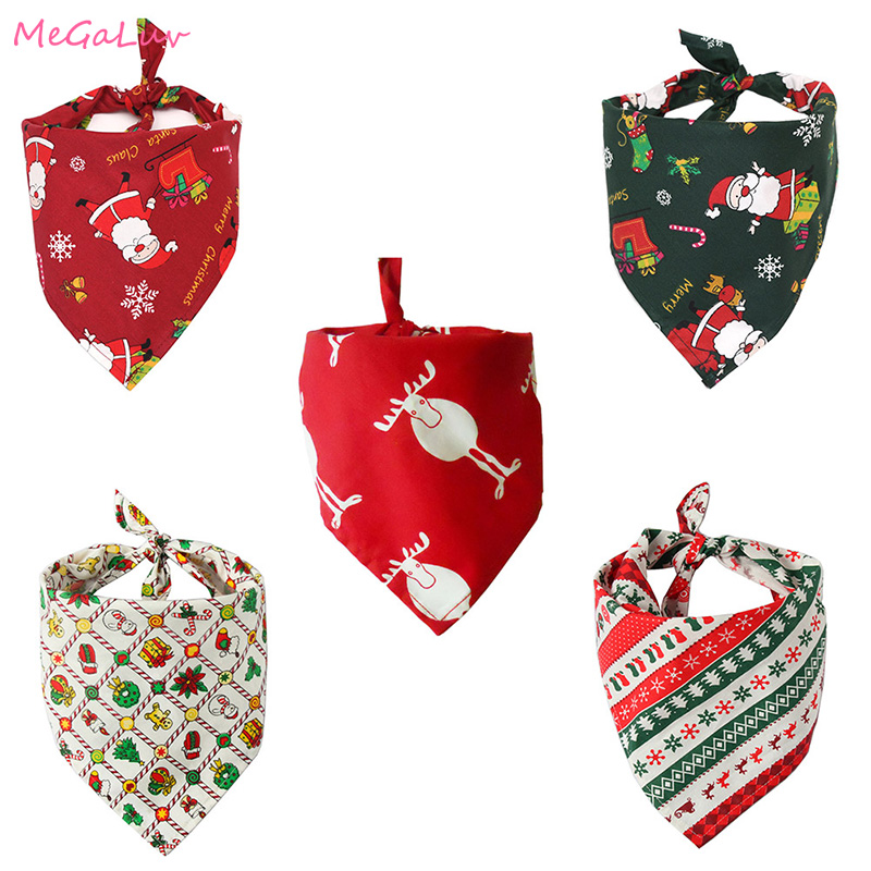 Christmas Pet Neckerchief Saliva Towel Red Green Santa Reindeer Striped Xmas Gift Bibs Scarf Collar For Small Large Dogs