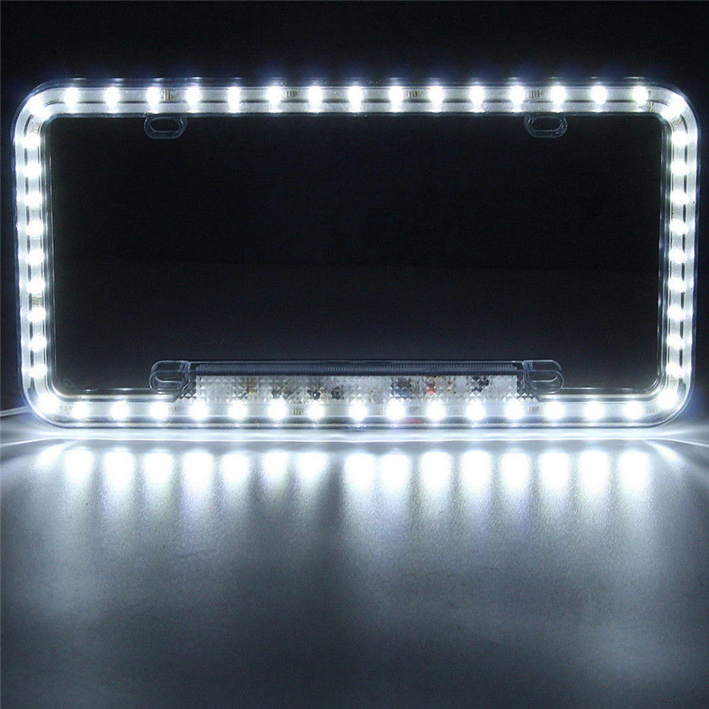 Image 3 - High Light 12V LED Universal White 54 Light Car Front Rear Number License Plate Frame Cover-in License Plate from Automobiles & Motorcycles
