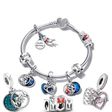 Genuine 100% 925 Sterling Silver Pendant Jewelry Dumbo Charm Mouse Bow & Mum Beads Fit Pandora Bracelet Making Gift for Women