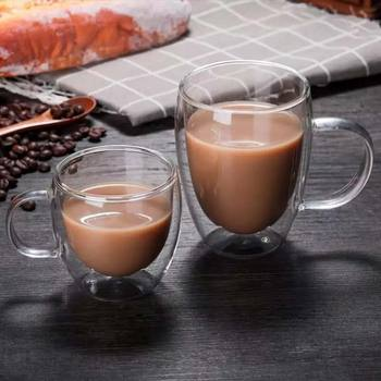 Przezroczyste szkło filiżanka kawy mleko whisky herbata piwo podwójne kreatywne żaroodporne koktajl wódka szklane filiżanki kubek tanie i dobre opinie CN (pochodzenie) ROUND Przezroczysty Ekologiczne AE-PF11111