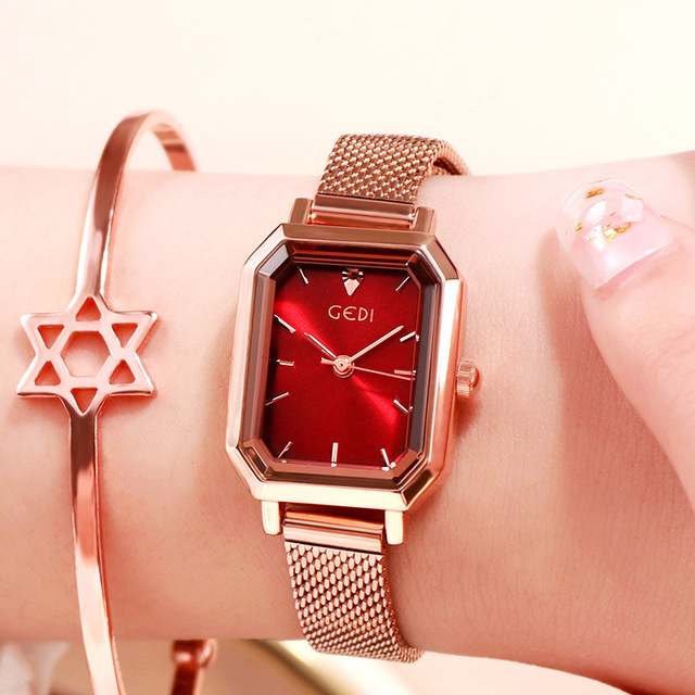 Luxury Brand lady Crystal Watch Women Dress Watch Rose Gold Waterproof Square Watches Female Stainless Steel Wristwatches INS