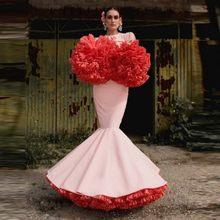 Urocze hiszpańskie sukienki w stylu syreny dodatkowe bufiaste tiulowe tradycyjne sukienki na imprezę puszyste rękawy damskie na zamówienie sukienki na przyjęcie